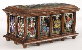 FRENCH LIMOGES ENAMEL CASKET, GOTHIC STYLE, 19TH C