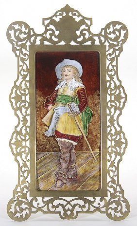 LIMOGES ENAMELED PLAQUE, FRENCH