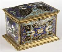 644 FRENCH CHAMPLEVE ENAMELED GILT BRONZE CASKET 19TH
