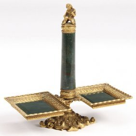 GILT BRONZE MOUNTED HARDSTONE RING STAND, 19TH C.