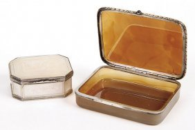 CONTINENTAL SILVER MOUNTED AGATE SNUFF BOX, C 1900