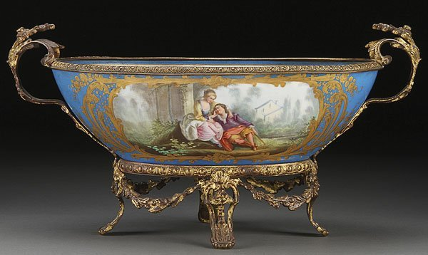 658: ANTIQUE FRENCH  BRONZE/SEVRES STYLE PORCELAIN BOWL