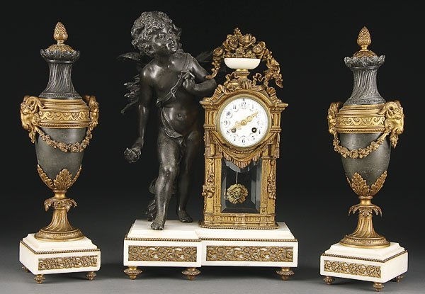 660: FRENCH LOUIS XVI STYLE FIGURAL CLOCK GARNITURE