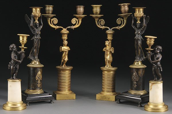 662: FRENCH GILT BRONZE FIGURAL CANDLE STANDS