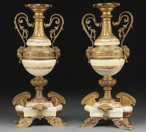 663: FRENCH NEO-CLASSIC ORMOLU ONYX & MARBLE GARNITURES