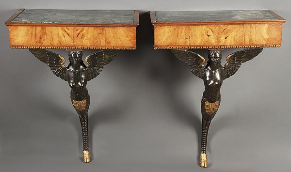 666: FRENCH EMPIRE CARVED EBONIZED CONSOLE TABLES