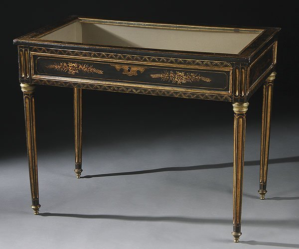 667: JAPANNED & GILT BRONZE CHINOISSERIE DISPLAY TABLE