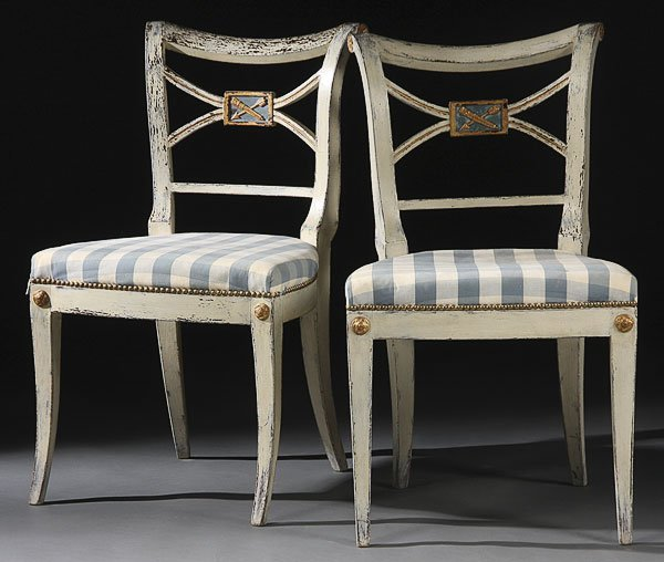 673: FRENCH EMPIRE CREAM PAINTED CARVED SIDE CHAIRS