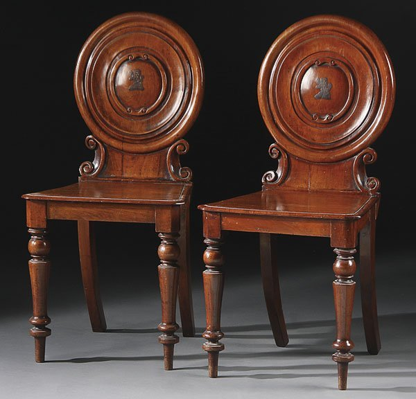 675: ENGLISH REGENCY PERIOD WALNUT HALL CHAIRS, PAIR