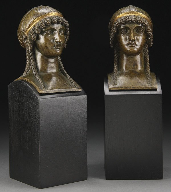 677: PAIR OF NEO-CLASSIC BRONZE BUST GARNITURES, 20TH C