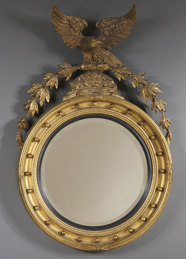 680: REGENCY STYLE  GILT MIRROR WITH EAGLE