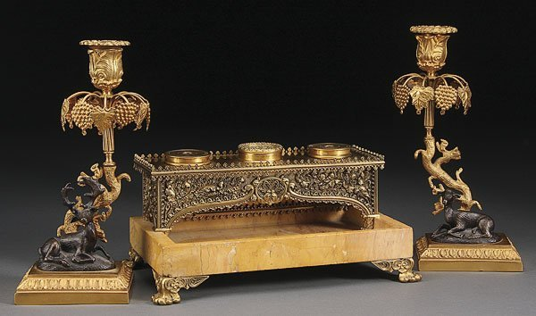 681: GILT BRONZE & MARBLE GOTHIC REVIVAL INK STAND