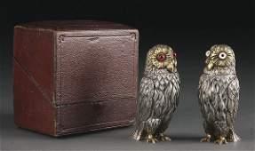 696: ENGLISH VICTORIAN SILVER OWL SHAKERS, 1867 UNITE