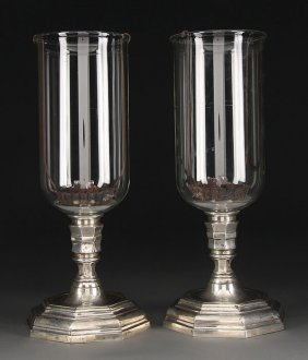 REGENCY STYLE BRONZE  CRYSTAL CANDLE LAMPS