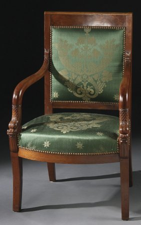FRENCH OR RUSSIAN  CARVED MAHOGANY ARM CHAIR