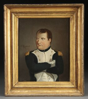 PAINTING, PORTRAIT OF NAPOLEON, OIL ON PANEL