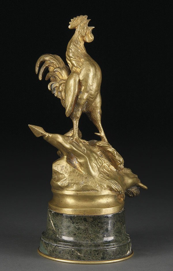 734: FRENCH BRONZE LECOURTIER  ROOSTER HONOR & COUNTRY
