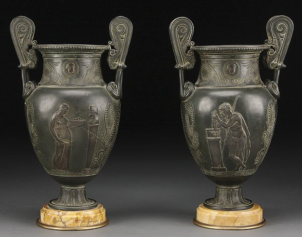 738: PAIR OF FRENCH NEO-CLASSIC FIGURAL URNS, 19TH C