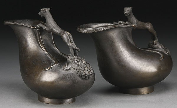 739: PAIR OF CLASSICAL STYLE BRONZE WINE JUGS, 19TH C