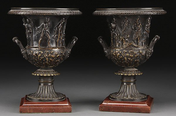 740: PAIR OF FRENCH EMPIRE CAMPAGNA URNS, C.1800