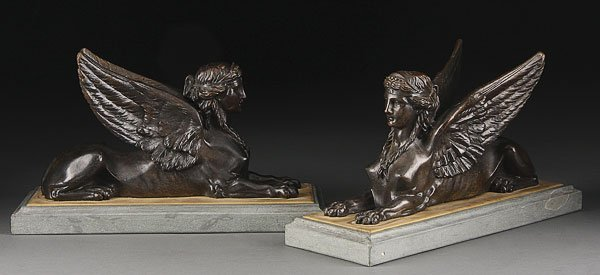 741: PR ANTIQUE FRENCH EGYPTIAN REVIVAL BRONZE SPHINXES
