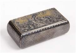 808 SILVERGILT NIELLO HUNTING SCENE SNUFF BOX C 1850