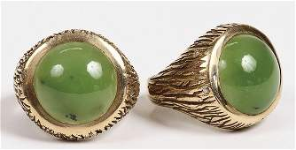 824: MEN'S JADE DIAMOND 14K GOLD RINGS