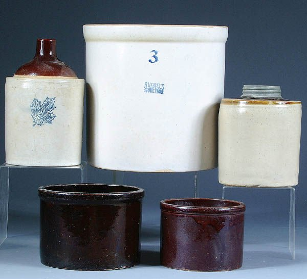 232: A RUCKEL'S STONEWARE 3 GALLON CROCK together with