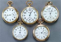 1324: FIVE VINTAGE POCKET WATCHES circa 1900 or later.