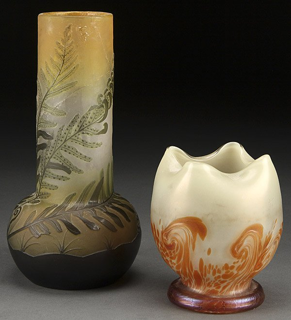 GALLE CAMEO GLASS AND LOETZ STYLE ART GLASS VASES