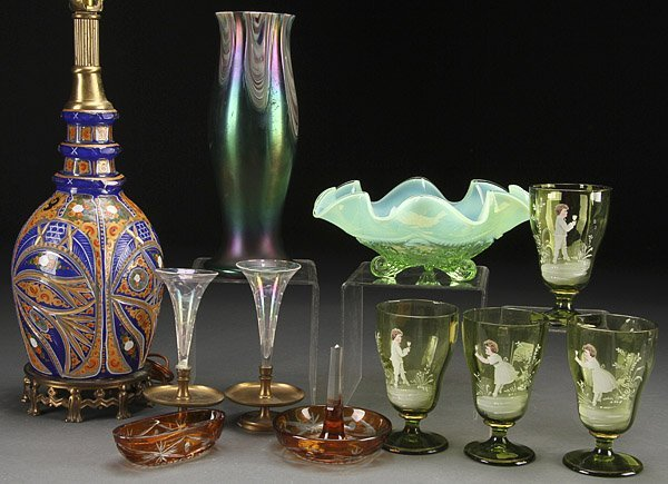 A VICTORIAN DECORATIVE GLASS GROUP