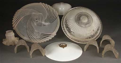 A collection of nine vintage glass lamp shades aloadofball Choice Image