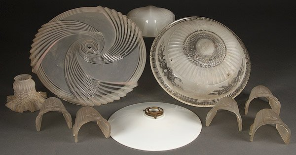 A COLLECTION OF NINE VINTAGE GLASS LAMP SHADES