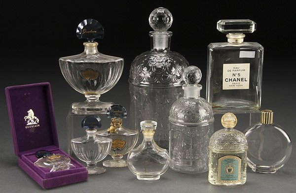 A GROUP OF TEN FRENCH CRYSTAL PERFUME BOTTLES