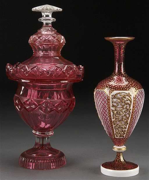 A Bohemian Cranberry Gl Vase See Sold Price
