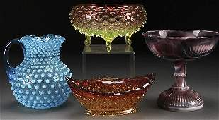 A FOUR PIECE GROUP OF VICTORIAN ART GLASS
