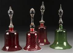 A GROUP OF FOUR VICTORIAN GLASS WEDDING BELLS