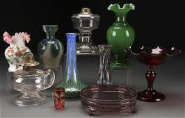 A VICTORIAN AND VINTAGE DECORATIVE GLASS GROUP