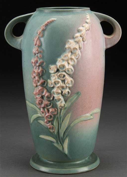 Large Roseville Foxglove Pottery Vase