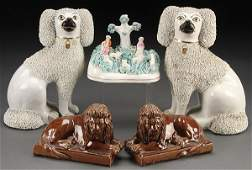 A FIVE PIECE ENGLISH STAFFORDSHIRE POTTERY GROUP