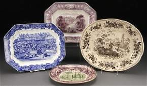 STAFFORDSHIRE TRANSFERWARE PLATTERS, 4 PIECES