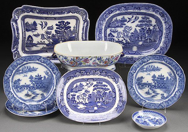 PORCELAIN, ENGLISH BLUE WILLOW & CHINESE EXPORT