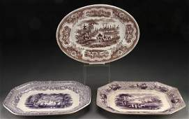 STAFFORDSHIRE TRANSFERWARE PLATTERS 3 PIECES
