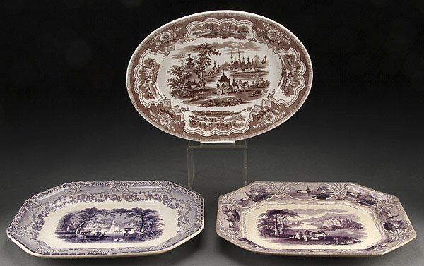 STAFFORDSHIRE TRANSFERWARE PLATTERS, 3 PIECES