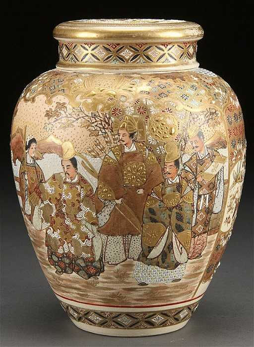 A Japanese Satsuma Enameled Pottery Covered Jar