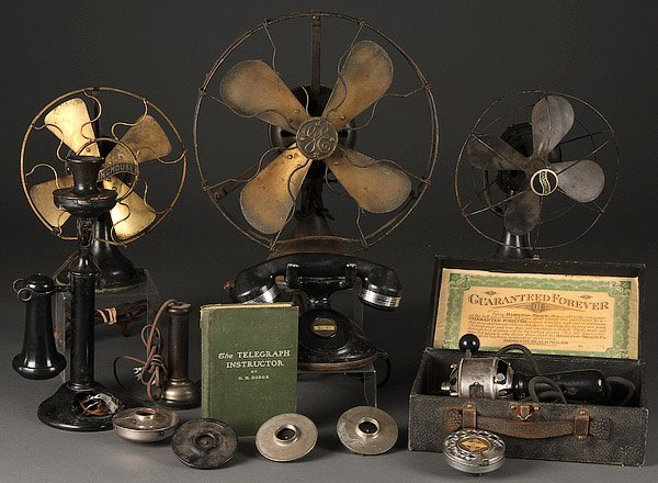VINTAGE ELECTRIC TABLE FANS AND TELEPHONES