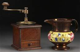 A 19TH CENTURY BRASS AND MAHOGANY COFFEE MILL