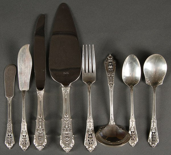 STERLING SILVER FLATWARE, 63 PIECES, 60 TROY .OZ