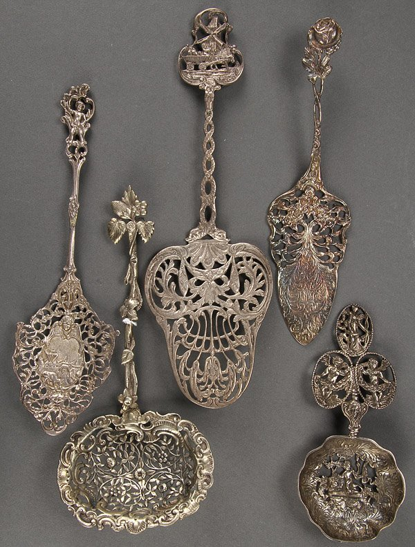 RETICULATED SPOONS, CONTINENTAL SILVER, 5 PIECES