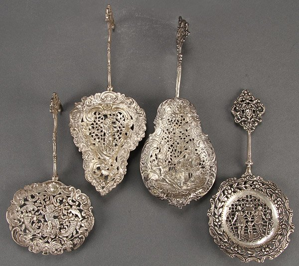 SILVER DECORATIVE SPOONS, 4 PIECES